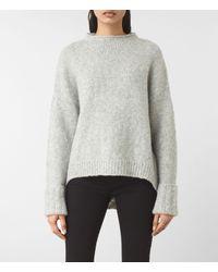 AllSaints | Gray Popcorn Funnel Neck Sweater Usa Usa | Lyst