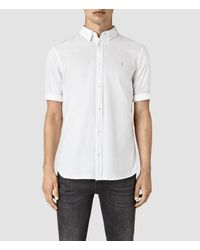 AllSaints | White Redondo Half Sleeved Shirt for Men | Lyst