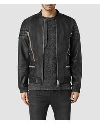 AllSaints | Black Sanderson Leather Bomber Jacket for Men | Lyst