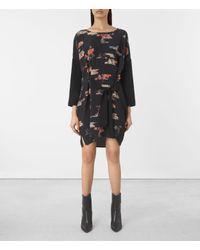 AllSaints   Black Sonny Arosa Silk Dress Usa Usa   Lyst