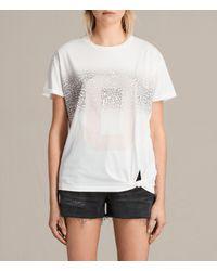 AllSaints | White Zeroes Heny Tee | Lyst