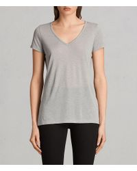 76079629 AllSaints Malin Silk T-shirt in Gray - Lyst