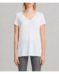 AllSaints - White Malin Silk T-shirt - Lyst