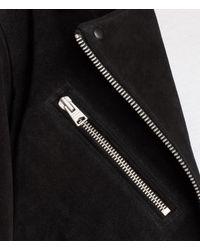 AllSaints - Black Oversized Plait Biker Jacket - Lyst