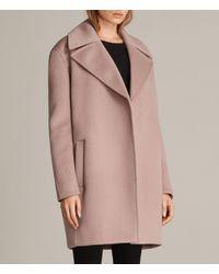AllSaints | Pink Remi Coat | Lyst