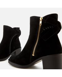 Ugg - Black Women's Fraise Whipstitch Suede Heeled Ankle Boots - Lyst