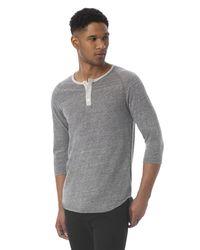Alternative Apparel - Gray Basic Eco-jersey Raglan Henley Shirt for Men - Lyst