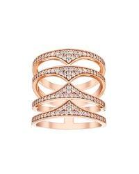 Amanda Wakeley - Pink Rebel Rose Gold Quadruple Ring - Lyst