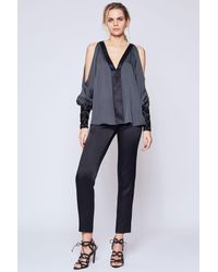 Amanda Wakeley - Gray Blur Steel V-neck Blouse - Lyst