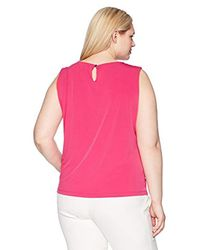 Calvin Klein Pink Plus Size Keyhole Top With Hardware