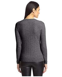 SOCIETY NEW YORK Gray Cable Henley Sweater