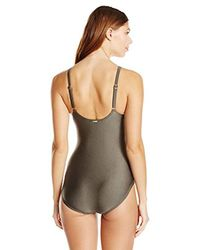 Calvin Klein - Green Over The Shoulder Draped Starburst One Piece Swimsuit With Removable Soft Cups, - Lyst