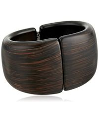 Kenneth Jay Lane - Multicolor Dark Wood Front Closure Hinged Cuff Bracelet - Lyst