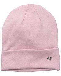 True Religion - Pink Acid Washed Flat Knit Watchcap for Men - Lyst