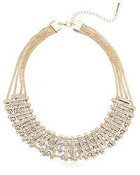 "Steve Madden - Metallic Mod Textured Metal Statement Necklace, 18.5"" + 3"" Extender - Lyst"