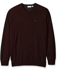 Calvin Klein - Brown Big And Tall Merino Solid V-neck Sweater, Dark Chestnut, 3x-large B for Men - Lyst