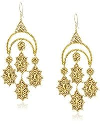 Miguel Ases - Metallic Large Gold-tone Crescent Chandelier Drop Earrings - Lyst