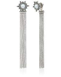 Rebecca Minkoff - Metallic Stone With Fringe Front Back Earring Jackets - Lyst