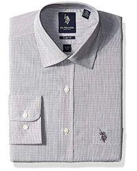 U.S. POLO ASSN. - Black Hairline Stripe Semi Spread Collar Dress Shirt for Men - Lyst