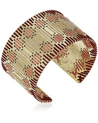 Lucky Brand - Metallic S Threaded Statement Cuff Bracelet, Gold, One Size - Lyst