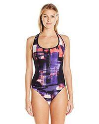 CALVIN KLEIN 205W39NYC - Multicolor Printed Half-zip Racerback One Piece Swimsuit - Lyst