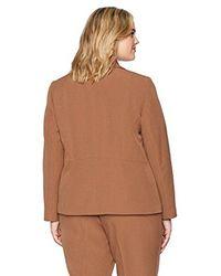 Kasper - Brown Plus Size Stretch Crepe Notch Lapel 1 Button Jacket - Lyst