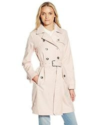 Laundry by Shelli Segal - Pink Double Breasted Trench With Leopard Trim - Lyst