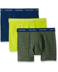 CALVIN KLEIN 205W39NYC - Yellow Cotton Stretch 3 Pack Boxer Briefs for Men - Lyst