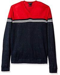 Armani Exchange - Blue | Color Block Stripe Long Sleeve Linen Blend Knit for Men - Lyst
