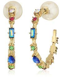 Betsey Johnson - Multicolor Multi-stone Hoop Earrings - Lyst