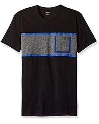 CALVIN KLEIN 205W39NYC - Black Short Sleeve Texture Ck Logo Print Crew Neck T-shirt for Men - Lyst
