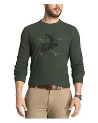 G.H.BASS - Green . Textured Striped Long Sleeve Crew Neck Shirt for Men - Lyst