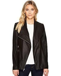 Via Spiga - Black Drape Front Leather Jacket - Lyst