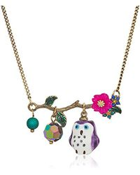 Betsey Johnson - S Purple And Gold Owl Pendant Necklace - Lyst