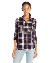 PAIGE - Mya Plaid Shirt-evening Blue/cream/ash Rose - Lyst