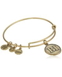 "ALEX AND ANI - Metallic ""places We Love Rafaelian Gold-tone Block Island Initials Expandable Wire Bangle Bracelet, 7.25"" - Lyst"