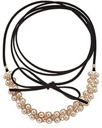 Guess - Metallic S Wrap Look Pearl Tie Choker Necklace - Lyst