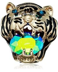Betsey Johnson - Purple Mystic Baroque Queens Gold Tiger Statement Ring, Size 8 - Lyst
