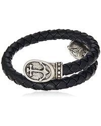 ALEX AND ANI - Metallic Braided Leather Wrap Bracelet, Anchor, Rafaelian Silver, Expandable for Men - Lyst