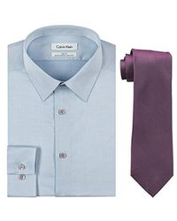 Calvin Klein - Blue Slim Fit Herringbone Dress Shirt And Silver Spun Tie Combo for Men - Lyst