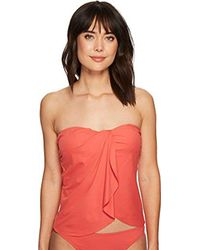Vince Camuto - Red Draped Bandini Top Swimsuit With Removable Straps - Lyst