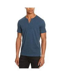 Kenneth Cole Reaction - Blue Short Sleeve Eyelet Henley Shirt for Men - Lyst