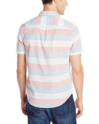Original Penguin - White Horizontal Stripe Short Sleeve Woven Shirt Slim Fit for Men - Lyst