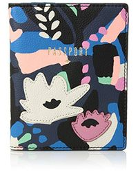 Fossil - Rfid Passport Case Black Floral - Lyst