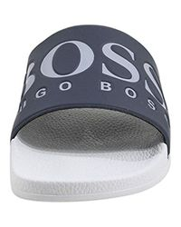 BOSS Gray Italian-made Rubber Slide Sandals With Contrast Logo for men