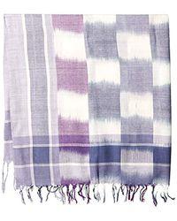La Fiorentina - Blue Plaid Checkered Scarf With Fringe - Lyst