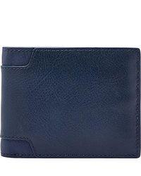 Fossil - Blue Rfid Flip Id Bifold Wallet for Men - Lyst