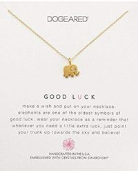 """Dogeared Metallic Good Luck, Elephant Swarovski Crystal Necklace, 16""""+ 2"""" Extension, 14k Gold Dipped 0.925 Sterling Silver"""