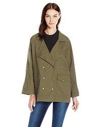Kensie - Green Jeans Oversized Utility Jacket In Dark Olive - Lyst