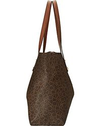Calvin Klein - Brown Reversible E/w Logo Tote Bag - Lyst